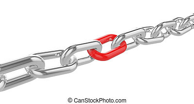 Chrome chain with a red link at the center.