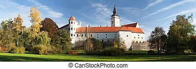 Panorama of Telc or Teltsch town castle or chateau -...