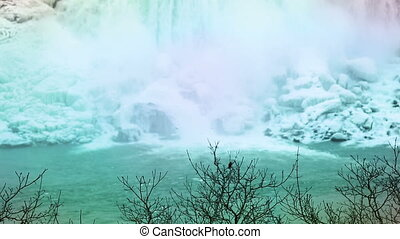 Niagara falls base enhanced colors winter time