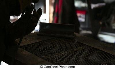 Welding Closeup shot stick weld