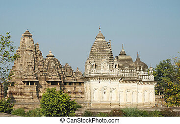 Hindu temples at Khajuraho,famous sacred place in India -...