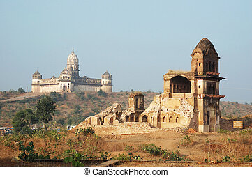 Lakshmi temple and ruins of old fortress at Orcha...