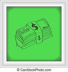 Simple doodle of a wad of bank notes - Simple hand drawn...