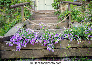 flowers in front of the stairs