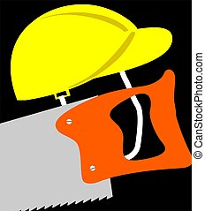 Tools - Illustration of a hardhat and jigsaw