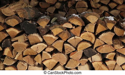 pile of stacked firewood in winter
