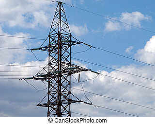 Electricity tower with power line cable on blue sky -...