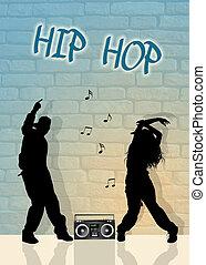 hip hop dancers - illustration of hip hop dancers