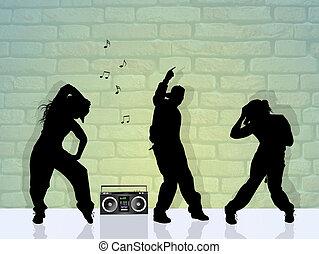 quadril, pessoas, pulo, Dançar
