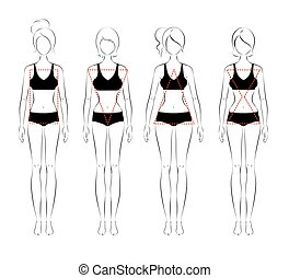 Female body types - Line art vector illustration of female...