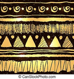 Ethnic pattern in gold and black colors
