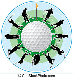 Golf time - Golf clock with golfing people silhouettes as...