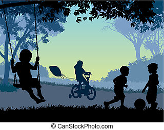 Childhood - Children playing in a park. Vector illustration.