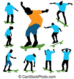 Skateboarding - A set of color skaters silhouettes Vector...
