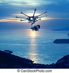The professional copter - Flying copter with their gear on...