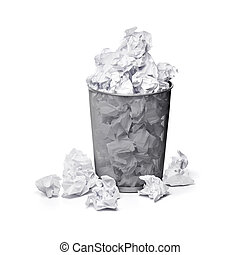Bad ideas - A trashcan full of crumpled paper