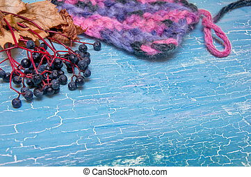 colorful knitting and berries on a blue background