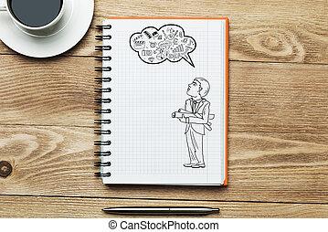 café, taza, para, fresco, idea,