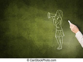 caricatura, de, mujer de negocios,