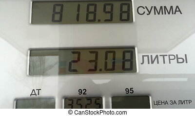 Gas pump counter  sale concept for fuel and energy.