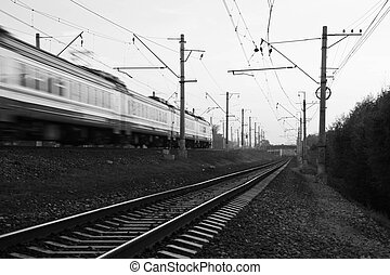 Movement of trains black and white