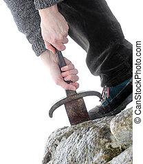 cavaleiro, tries, Para, remover, Excalibur, espada, em, a,...