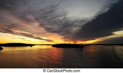 Magic hour sunset over sea