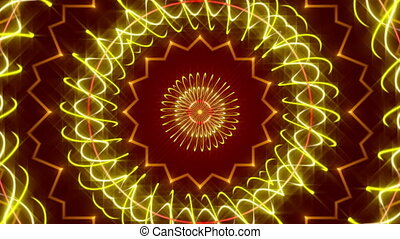 red abstract background, kaleidoscope light, loop