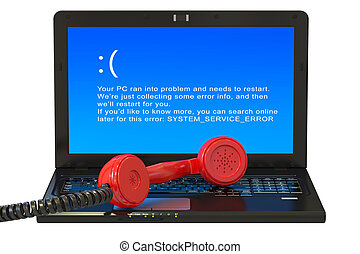 Laptop with blue error screen and handset