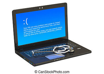 Laptop with blue error screen and stethoscope