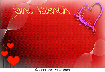 Saint Valentin, illustration - on a red background of the...