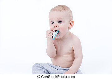 baby playing with nipple - Small baby is licking and chewing...