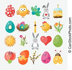 Set Easter flat icons for design, vector