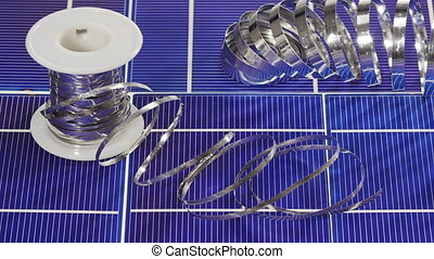 Solar panel cell elements and wires assembling details,...