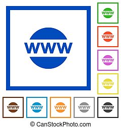 Domain framed flat icons