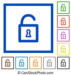 Unlock framed flat icons - Set of color square framed unlock...
