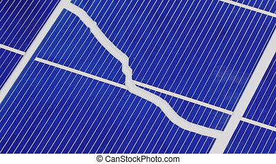 Broken solar panel cell parts rotating background, loop...