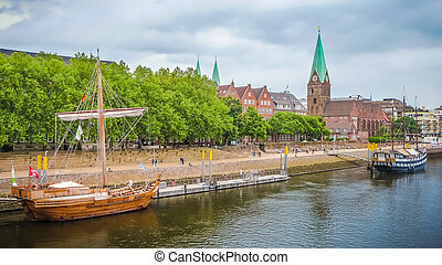 Historic town of Bremen with Weser river, Germany - Historic...