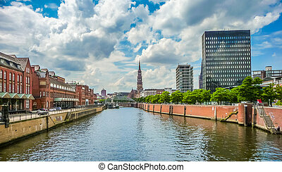 Zollkanal with St Catherines Church in warehouse district,...