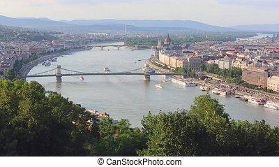 Budapest - Aerial Danube River in Budapest Hungary
