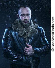 Beautiful Luxury Winter Man on snow background - Brutal...