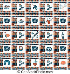 Plaid fabric seamless pattern, big scottish set