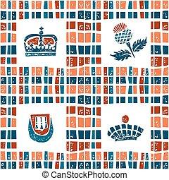 Plaid fabric seamless pattern, scottish set