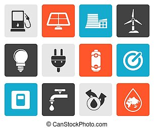 power and energy icons - Flat Ecology, power and energy...
