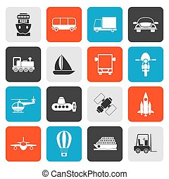 travel and shipment icons - Flat Transportation, travel and...