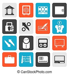 Bank, business and finance icons - Flat Bank, business and...