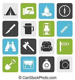 Flat tourism and hiking icons