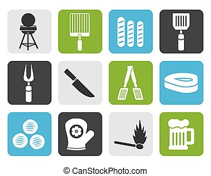 barbecue and grill icons - Flat picnic, barbecue and grill...