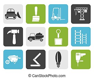 Construction equipment icons - Flat Building and...