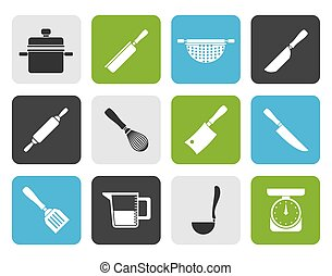 Cooking equipment and tools icons - Flat Cooking equipment...